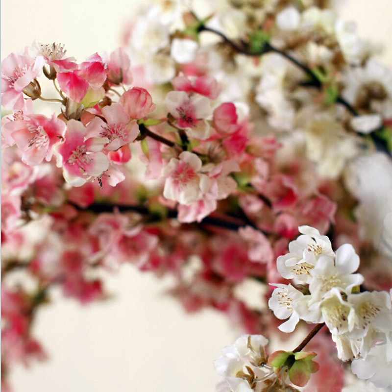 Small sakura white pink silk cherry blossom 3 branches for Artificial flowers for home decoration online