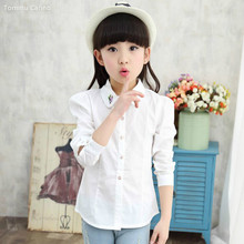 Students White Blouses For Girls Kids Tops Cotton Embroidered Shirts Girls Children Clothing Spring Autumn School Uniforms 5-12Y