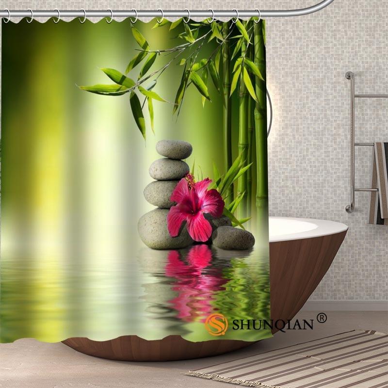 Bambusz egyedi zuhanyfüggöny Fürdőszoba képernyők Vízálló - Háztartási árucikkek