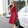 Новый 2015 осень женщины плащ мода твердый тонкий ветровка однобортный юбка стиль горячая распродажа женский зимние пальто