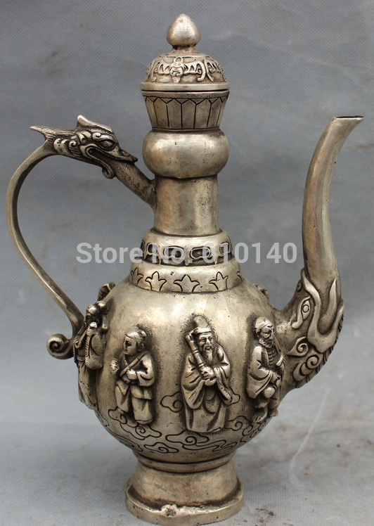 9 Silver Buddismo Cinese Dragon Head Statua 8 Dio Immortali Wine Pot Teiera9 Silver Buddismo Cinese Dragon Head Statua 8 Dio Immortali Wine Pot Teiera