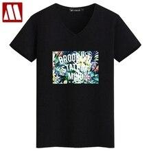Nouveau Homme D'été Coton T-shirt Brooklyn Lettres Motif Hommes de 3D Selva  imprimer V-cou T chemises Casual Cool Mâle Slim Fit .