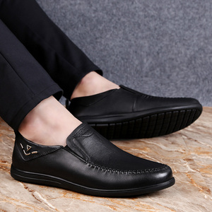 Image 3 - 2020 mens dress shoes slip on genuine leather cow classic black or brown office shoe man plain formal shoes for men big size 12