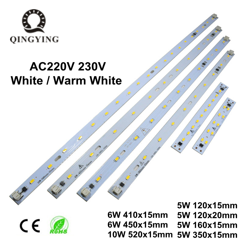 10pcs AC 220V 230V T5 T8 LED Tube Bar Rigid Strip Free Driver 5W 6W 10W AC220V SMD 5730 LED PCB White / Warm White Light Source
