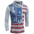 2017 Лето мужская Водолазка Футболки Американский Стиль Флаг США Напечатаны Футболку Для Мужчин Спортивной Мужской Раза Воротник футболки