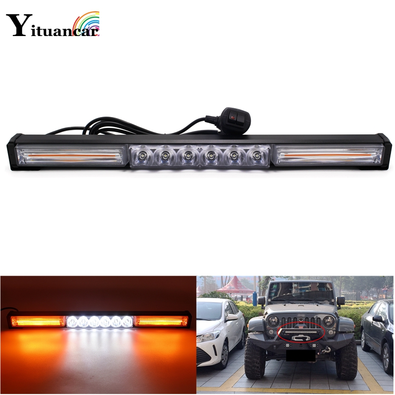 Yituancar 1Pcs COB LED Strobe Flash Warning Car Light Bar 13 Modes Styling High Low Beam Fireman Police Emergency Fog Work Lamp free shipping high power 72w car cob warning light car styling external emergency strobe light bar flash white lamp