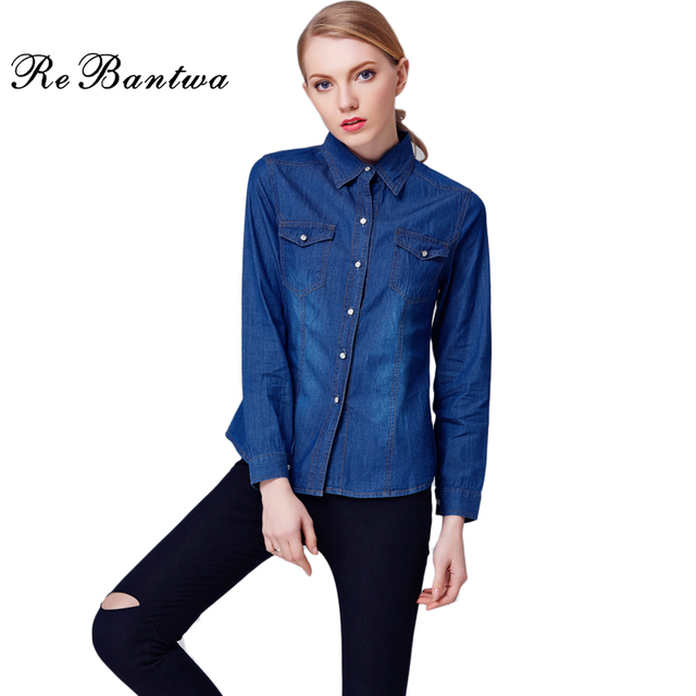 32513d1db5e 2016 New Denim Women Blouses Long Sleeve Turn-Down Collar Shirt Women Jeans  Cotton Blue
