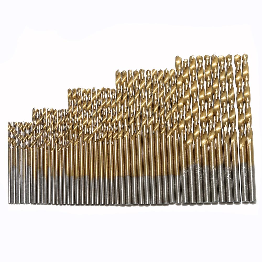 50PCS 1/1.5/2/2.5/3mm HSS Titanium Coated High Speed Steel Drill Bit Set