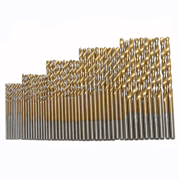 50pcs 100pcs 1 3mm titanium coated twist drill bit high steel for woodworking aluminium alloy angle iron plastic drill bit set 50PCS 1/1.5/2/2.5/3mm HSS Titanium Coated High Speed Steel Drill Bit Set