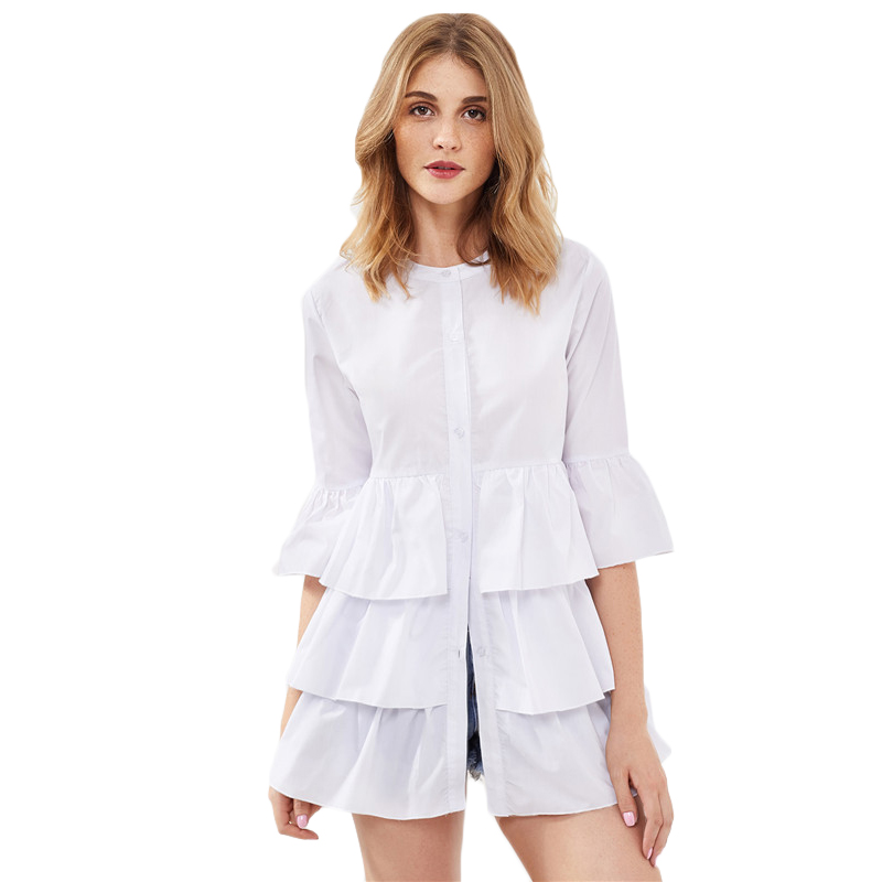 HTB1aASxRVXXXXctXFXXq6xXFXXX6 - Frill Trim Shirt White Button Up Blouse JKP070