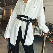 Ceinture ceinture à nouer, en cuir véritable, à la taille, noire, mode européenne et américaine, pour chemise, ceinture de personnalité