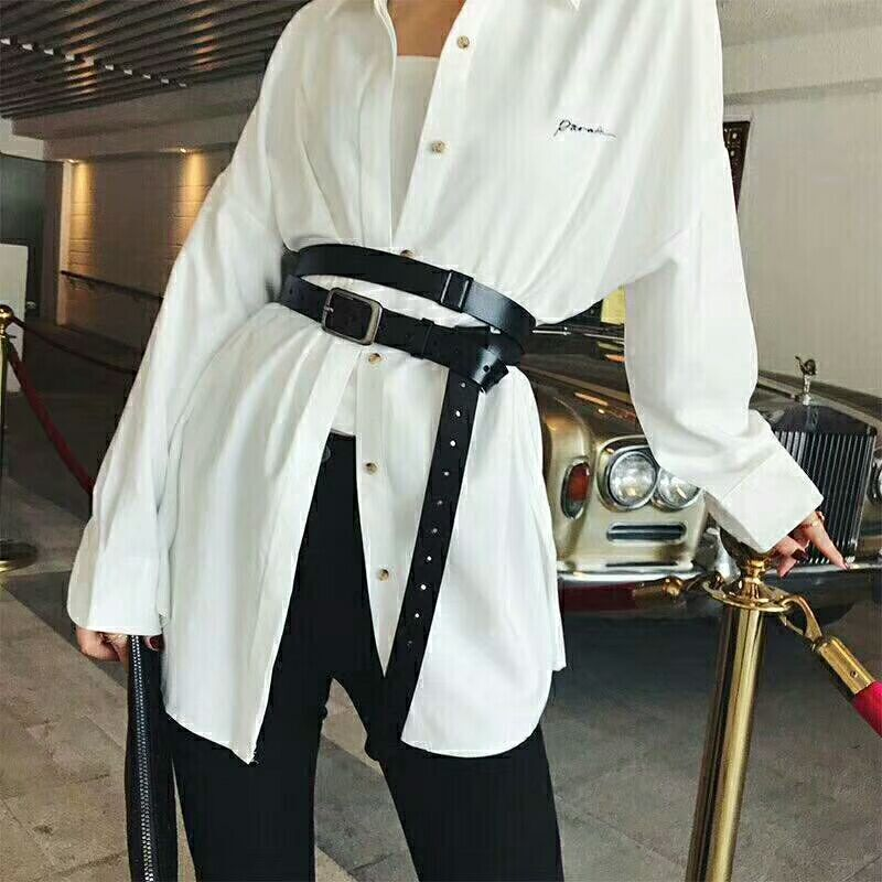 European And American Fashion Genuine Leather Belt Personality Waist Wide Black Belt Tie-in Shirt Waist Belt Straps