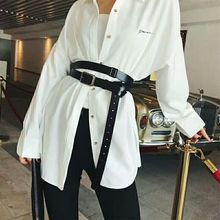 European and American fashion genuine leather belt personality waist wide black belt Tie in shirt waist belt straps
