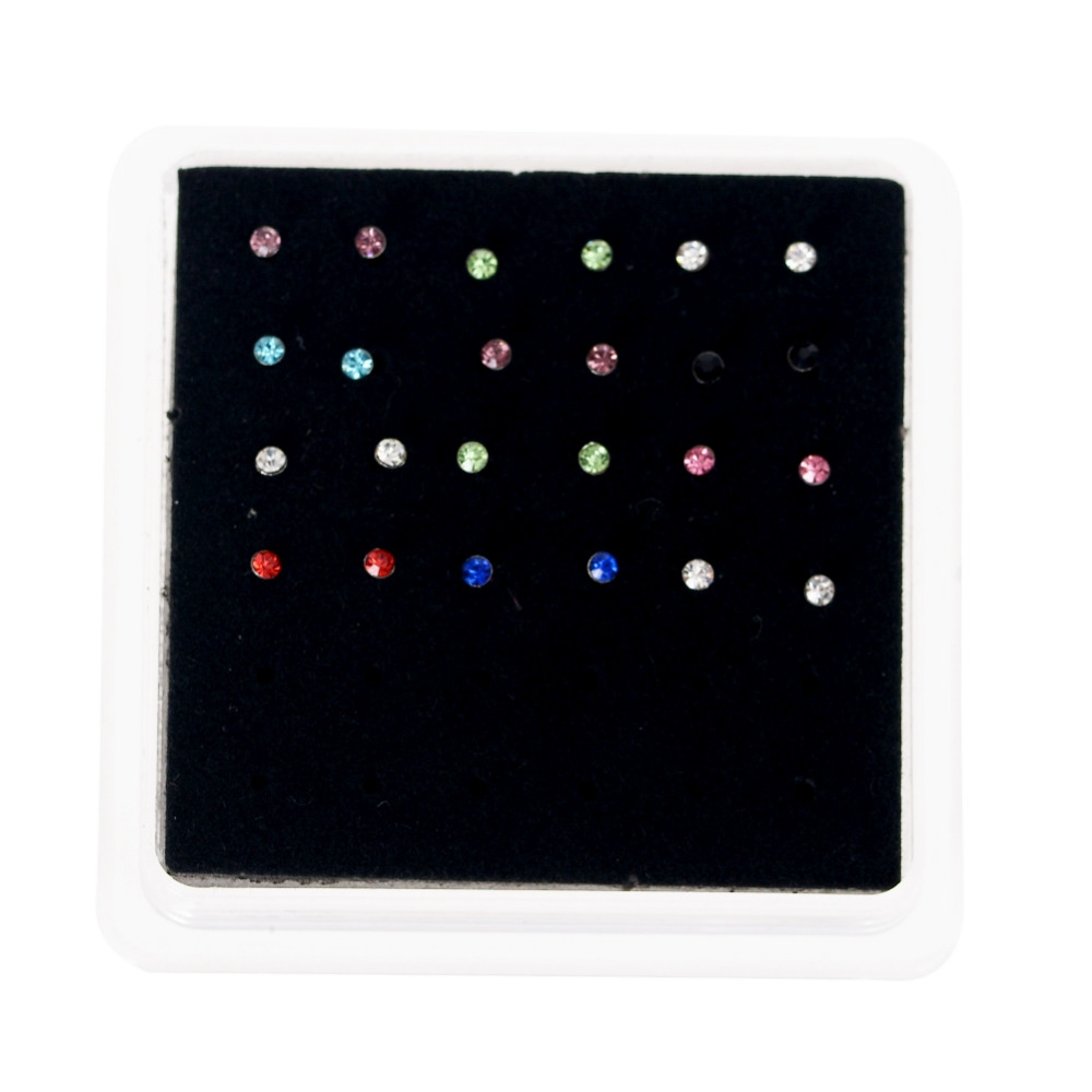 Wholesale 24 pcs/pack Crystal Rhinestone Bulk Bone Straight Stud Bar Piercing Nose Ring White Colorful Colors