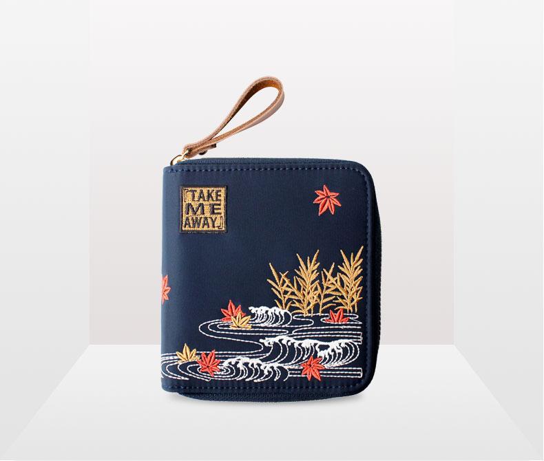 837b2c412179 Flower Princess Nylon Embroidery Crane Wristlet Clutch Wallet Women Purse  Card Holder Organizer Teenage Girls Ladies Hand Bag