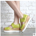 "Ladies 2.6""  Sexy peep  toe Hook & Loop wedge heel sandals shoes summer style women big size shoes(4 to 12)in 5colors"