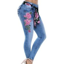 NIBESSER Women Skinny Jeans Fashion Rose Embroidered Floral Denim Pants Women Trousers Pencil Pants Plus-Size Dropshipping(China)