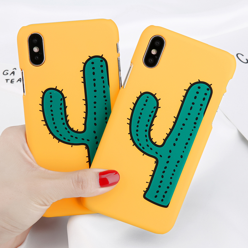 Cute Cartoon Phone Iphone 7 Plus Cactus/Elk/Chick Print Cases Hard PC Letter Back Covers For Iphone 6 6S 7 8 Plus