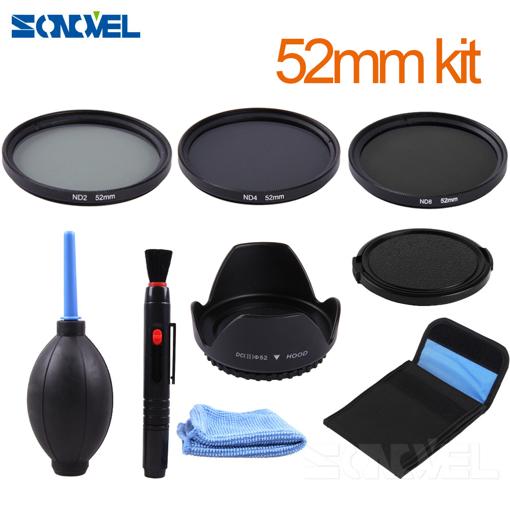52mm ND2 ND4 ND8 Neutral Density Filter Lens Set+52mm lens hood For Canon EOS M2 <font><b>M3</b></font> M5 M6 M10 M100 & EF-M 18-<font><b>55mm</b></font>/EF-M 55-200mm image