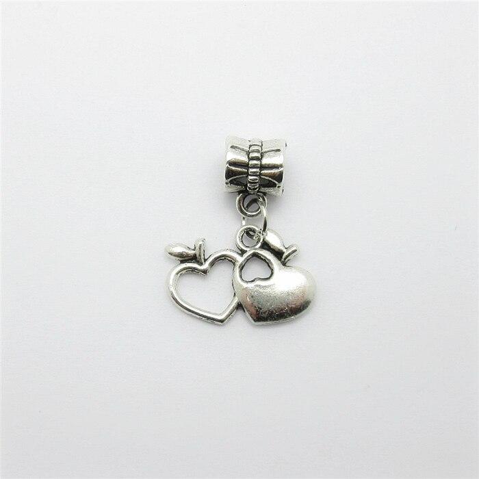 25 pcs encantos do coração tibetano pingente de prata Fit pulseiras colar  DIY Metal fazer jóias 798b803e59