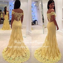 Sexy See Through Back Lace Long Yellow Prom Dresses 2017 V-neck Cap Sleeve Beaded Floor Length Mermaid Prom Dress