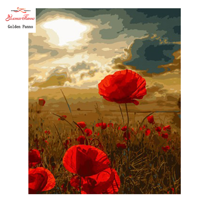 Golden Panno Needlework Embroidery DIY Floral Painting Cross stitch kits 14ct The Poppy home Cross stitch