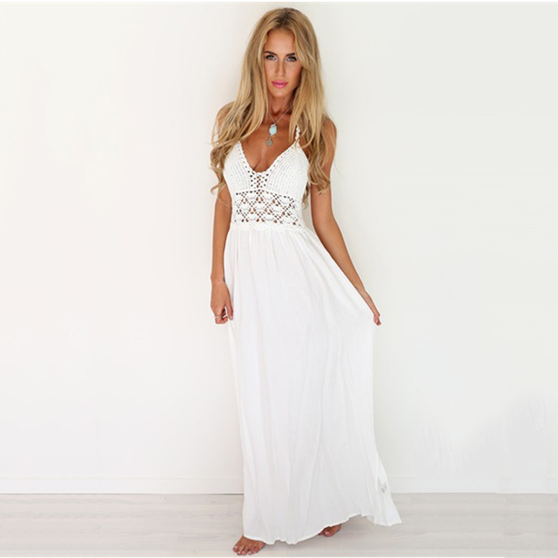 New Summer High Quality Crochet Plunge Hollow Out Sheer White Halter Backless Long Maxi Dress Casual Beach Strappy Party Dresses