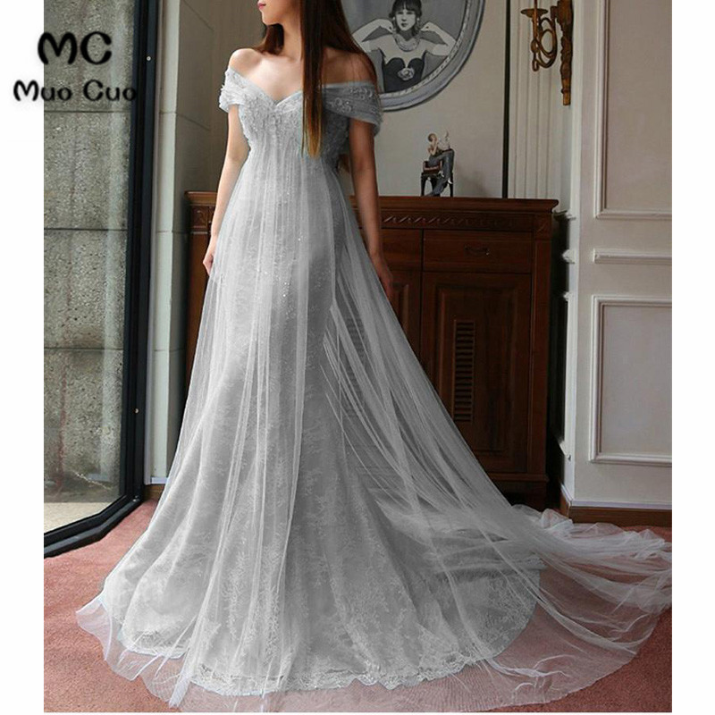 2018 Mermaid   Prom     dresses   Long with Lace V-Neck Short Sleeve Tulle Graduation   Dresses   Evening   Prom     Dress   for Women