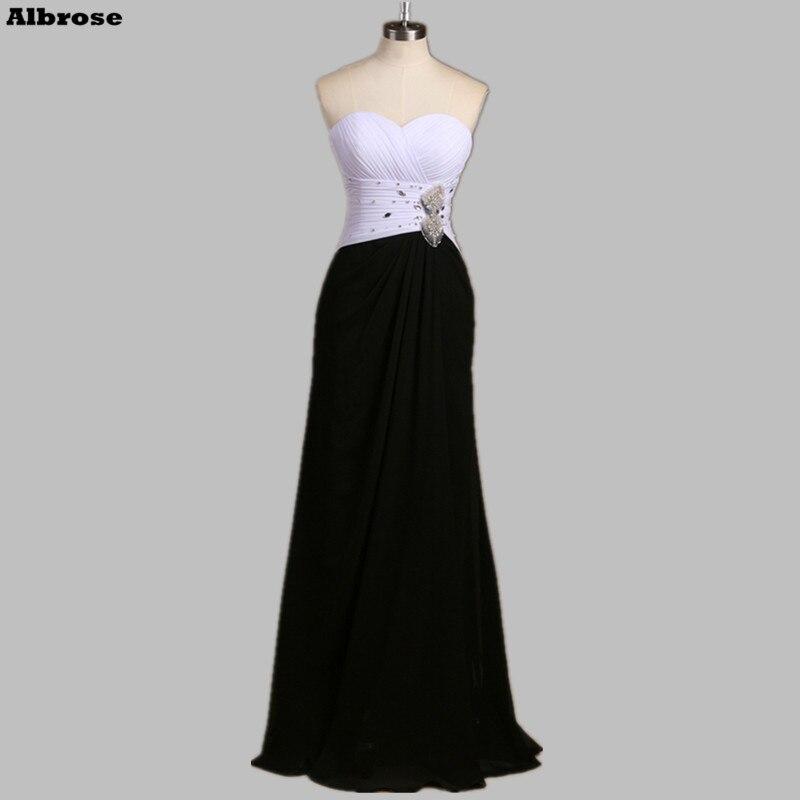 Beyaz ve Siyah ile Seksi Plaj Akşam Elbise Kristaller Boncuklu Şifon Zarif Abiye Uzun Örgün Parti Kadın Elbisesi