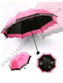 4pc/lot colour option summer  folding mini sunny  umbrella  5 times black  coating Anti-UV rose red  two layers lace parasol