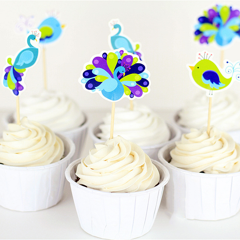 Online get cheap peacock cake topper for Baby shower cupcake picks decoration