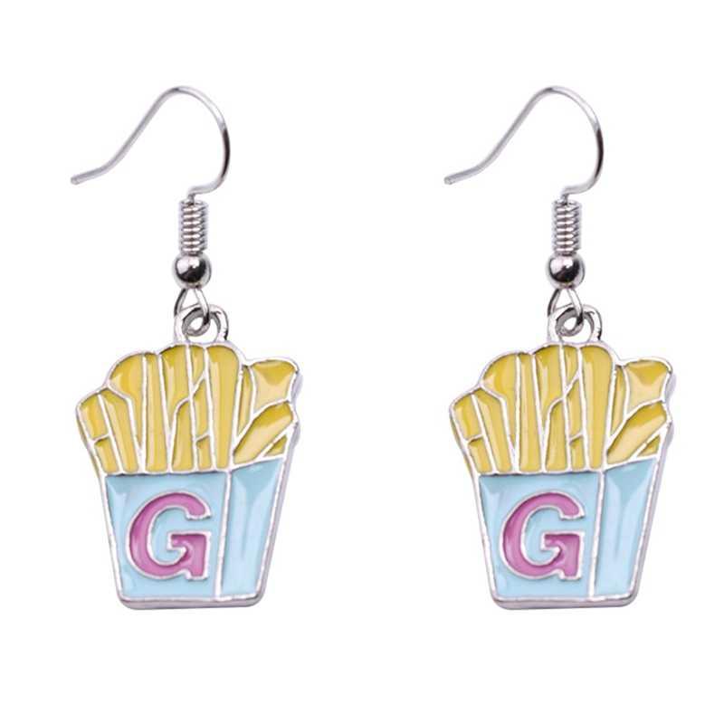 2018 جميل اليدوية الراتنج الغذاء أقراط الآيس كريم همبرغر الأذن ترصيع للنساء هدايا مجوهرات للبنات