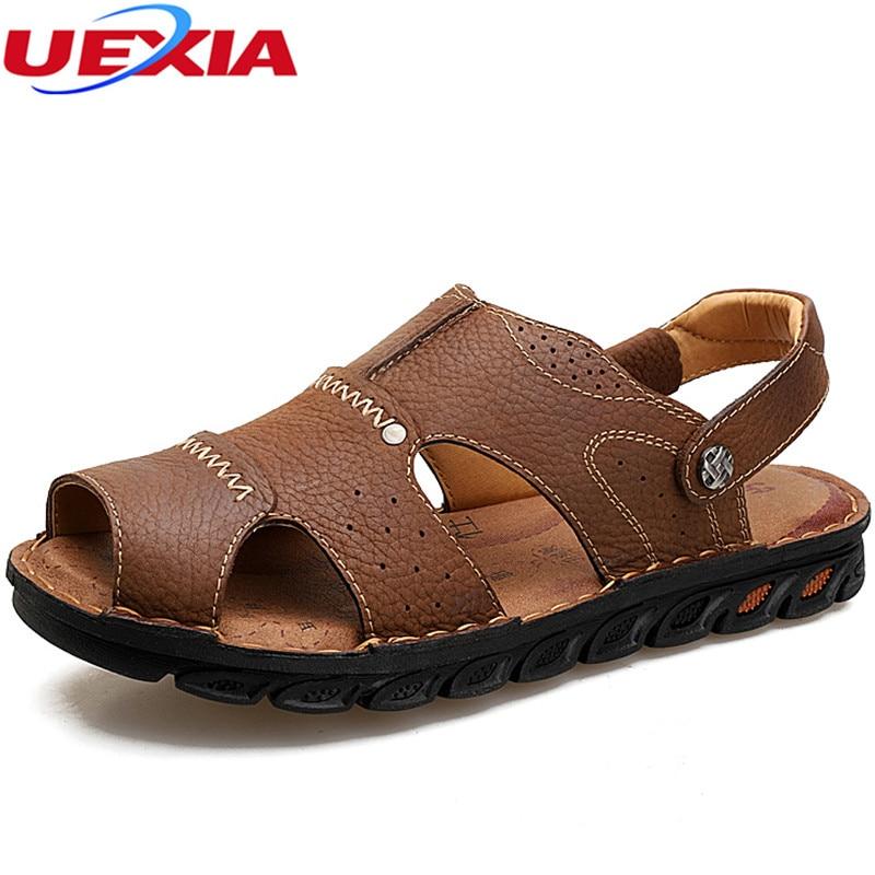UEXIA Comfortable Handmade 2018 Leather Men Sandals Breathable Summer Shoes Men Non-slip Outdoors Beach Men Sandals High Quality