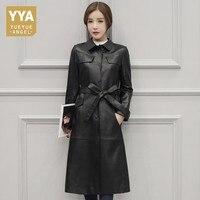 Горячая зима овчины пальто для Для женщин длинные женские Куртки из натуральной кожи Черная курточка длинные Для женщин пальто поясом Офис