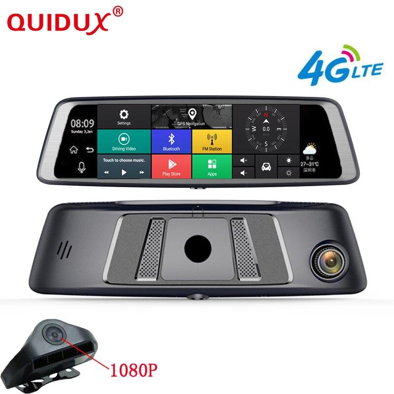 QUIDUX 10 entièrement Tactile Android 5.1 flux mediar 4G Spécial Miroir De Voiture DVR caméra GPS Double lentille Full HD 1080 P ADAS WIFI Dash Cam