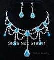 Noble Clásico cristal azul pendiente de gota de Agua Cuelgan El pendiente Del Rhinestone sistemas de la Joyería del banquete de Boda Fija el collar y aretes