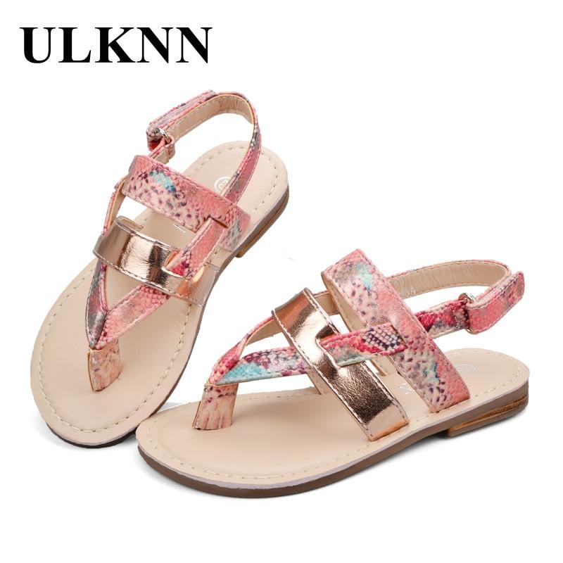 ULKNN Kids Summer Sandals For Girls Flat With Ankle Wrap Girls Beach Sandals Children Shoes Sandalia Infantil Kids PU Rubber