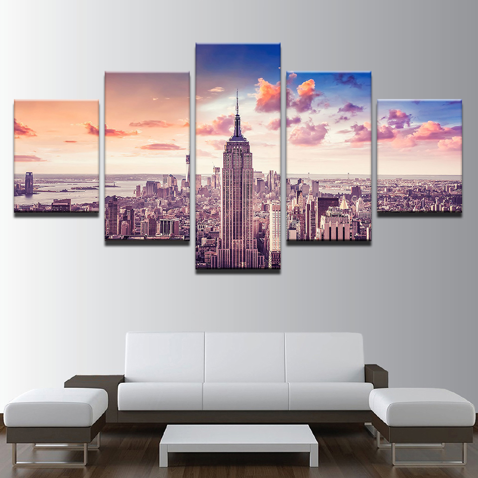 New York City Modern Canvas Painting Print Picture Home: Poster Modern Printing Type Canvas Painting HD Print Wall