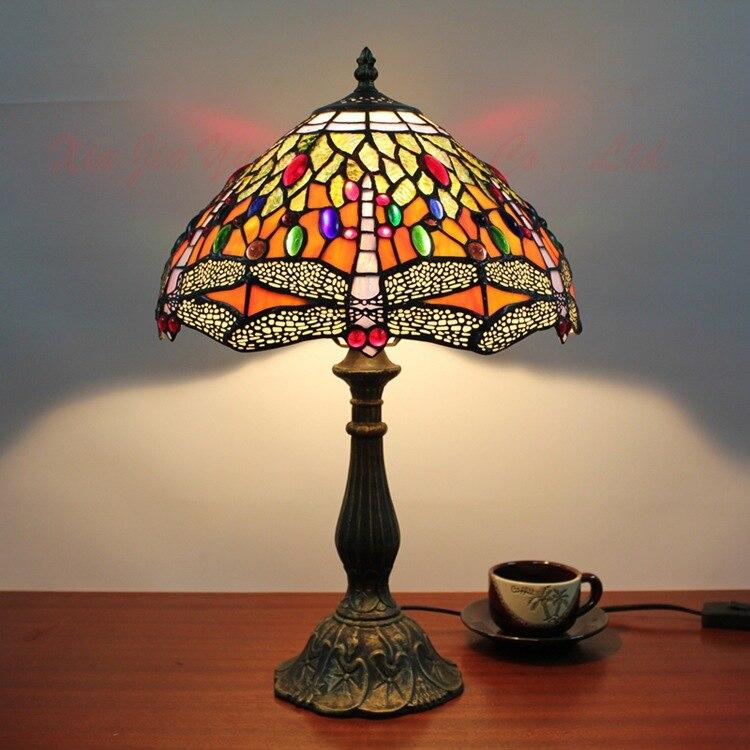 Настольная лампа стрекоза стол Освещение дома Освещение деко Стекло лампы для Гостиная прикроватной тумбочке Освещение