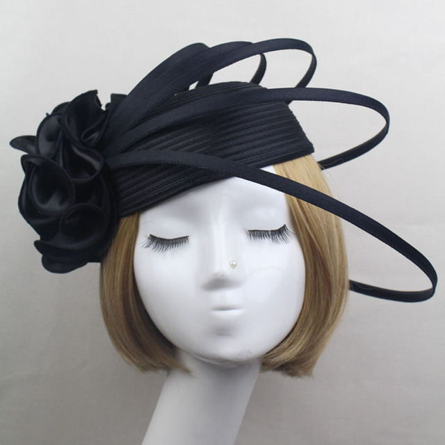 Ladies Black Ivory Purple Satin Flower Fascinator Hat Vintage Fashion Women  wedding Party Elegant Fascinators Hair Accessories 25e33058cab