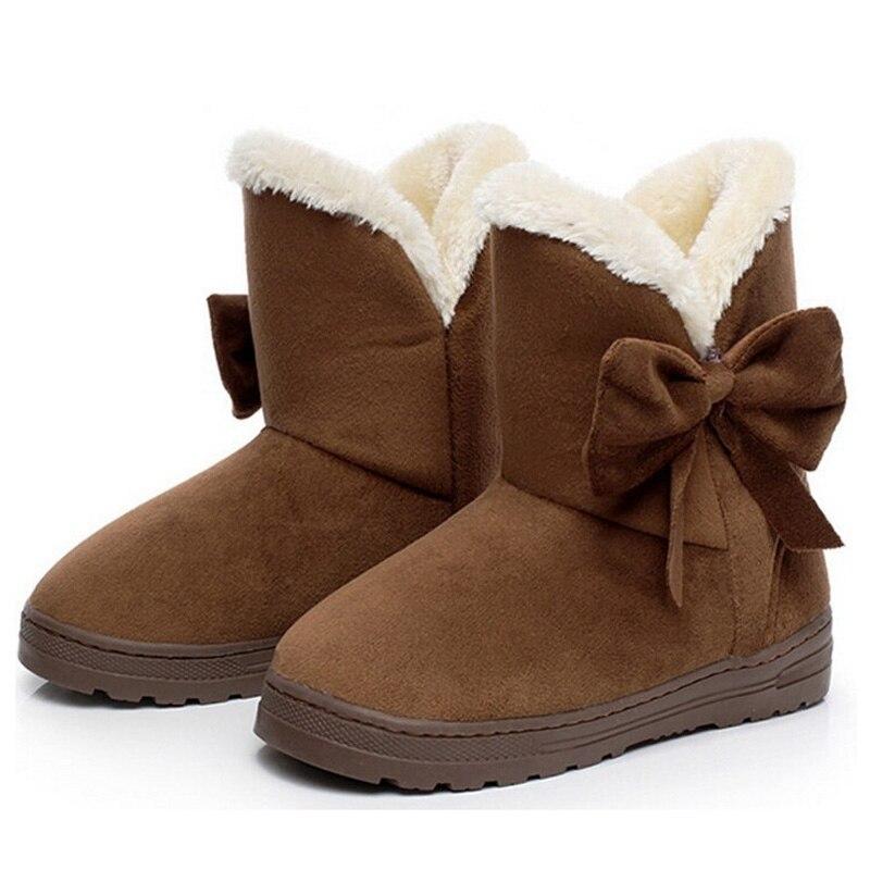 2015 New Women Snow Boots,Short Ankle Boots With Big Bowtie,Platform Flock Comfortable Warm Fur Inside Winter Shoe XWX1385