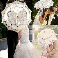 Bonito Do Vintage Handmade Cotton Lace Parasol Umbrella Para Nupcial Do Casamento Foto Props Decorações Do Chuveiro Favores Do Casamento branco
