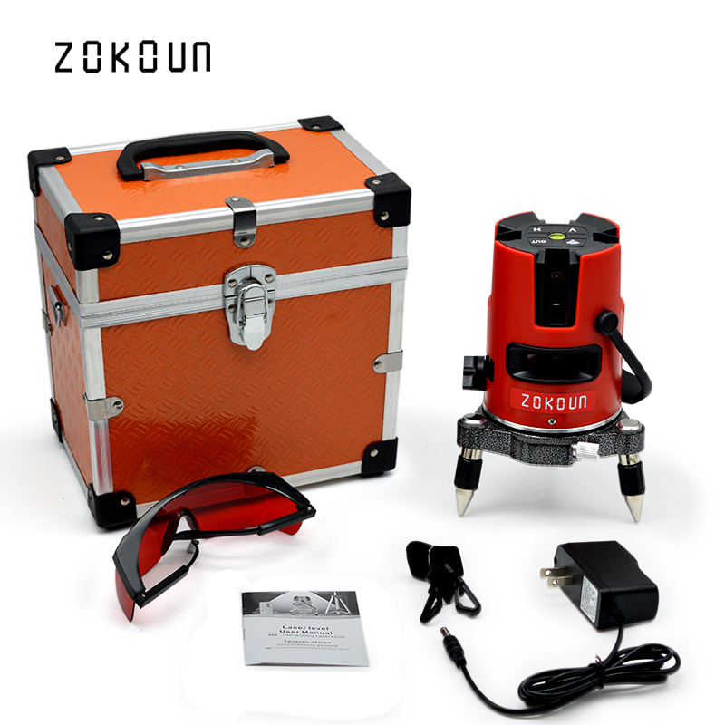 купить US PLUG Zokoun 5 lines 6 points 360 degrees rotary self leveling tilt slash functional laser level meter with outdoor mode онлайн