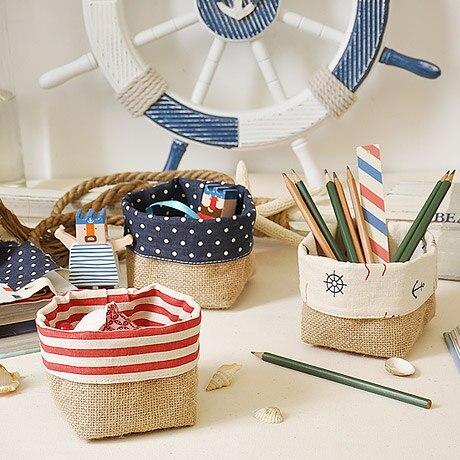 5pcs/set Navy Single Ear Linen Storage Basket Fabric Bag Storage Basket  Instoragebarrels Hanging Bag In Storage Baskets From Home U0026 Garden On  Aliexpress.com ...