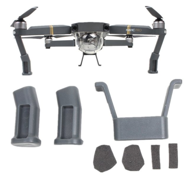 DJI Mavic Pro Platinum Landing Gear Height Extender Kit Riser Set Stabilizers with Protection Pad and Safe Landing Holder Mount