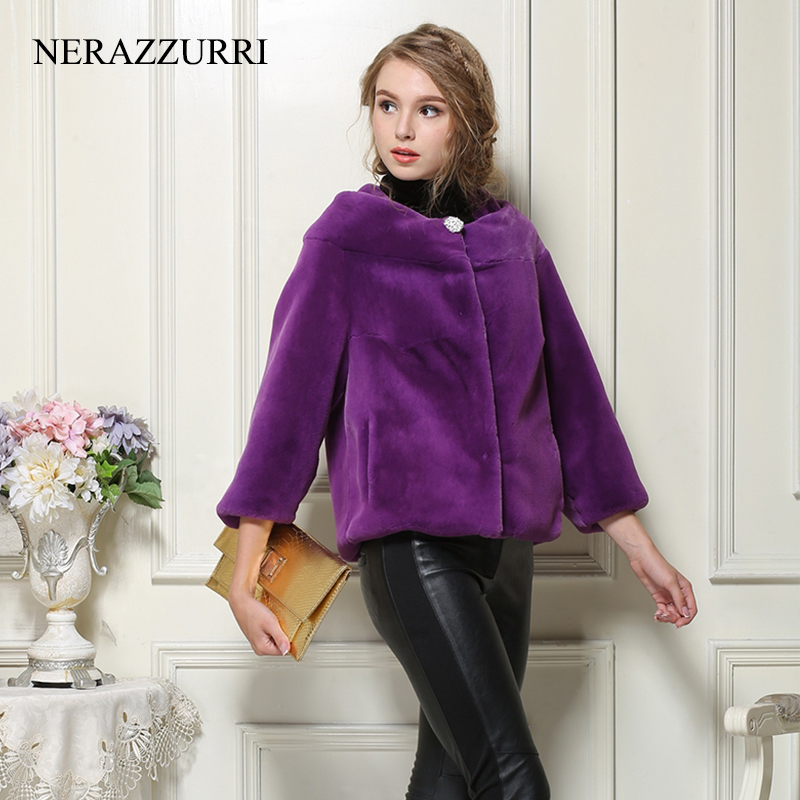 Nerazzurri faux fur coat autumn female fake fur jacket women winter big size 5xl 6xl black red blue purple furry fluffy jacket-in Faux Fur from Women's Clothing    1