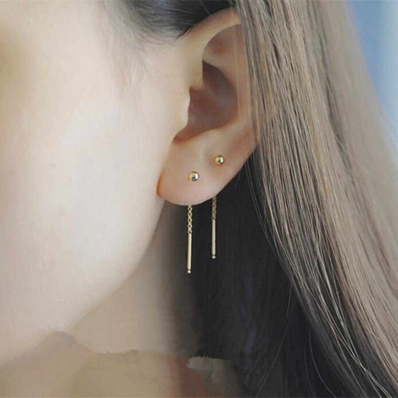 Fashion Minimalist Rose Gold Color Ball Pendant Women Drop Earrings Long Ear Line Hanging Earrings For Women Wedding Jewelry