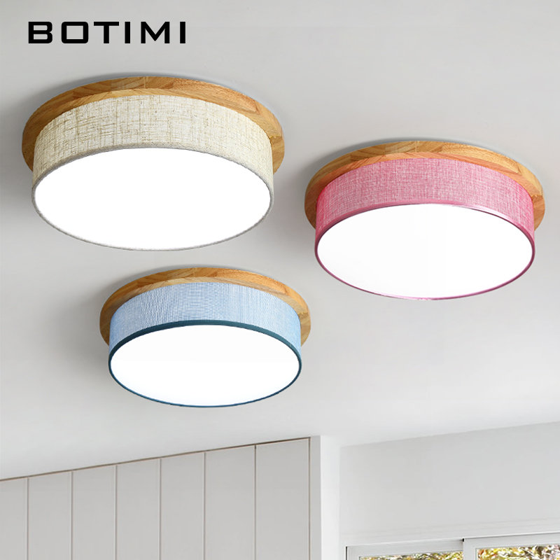 BOTIMI LED Ceiling Lights with Fabric Lampshade Modern Round Ceiling Lamp Wooden Bedroom Luminaire Wood Dining Lighting Fixture brass half round ball shade pendant light led vintage copper wooden lighting fixture brass wood fabric wire pendant lamp