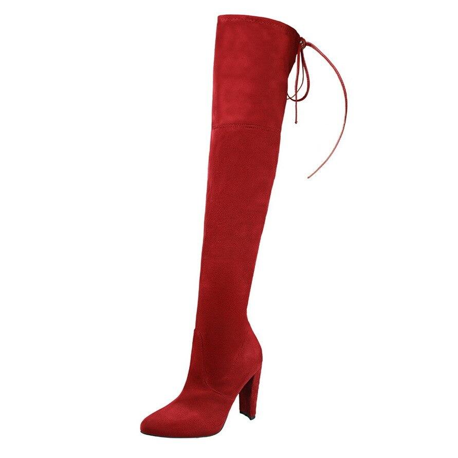 Hiver chaud boot femmes chaussures style Européen Genou Haute-Talon pic talon bout pointu haute bottes en daim sexy overknee boot