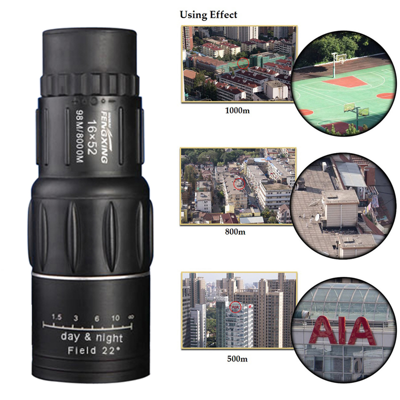 Hot Sale 16X52 Dual Focus Monocular Telescope 16x Zoom Binoculars 66M/8000M HD Scope with Cleaning Cloth & Pouch for Outdoor Use  цены